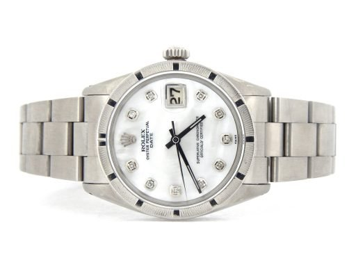Rolex Stainless Steel Date 1501 White MOP Diamond-7