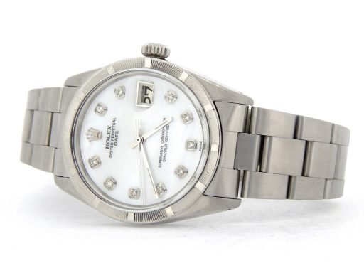 Rolex Stainless Steel Date 1501 White MOP Diamond-8