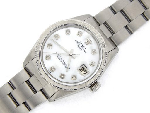 Rolex Stainless Steel Date 1501 White MOP Diamond-6