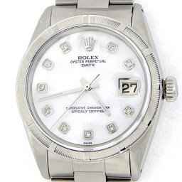 Mens Rolex Stainless Steel Date White MOP Diamond 1501 (SKU 914504MT)