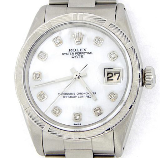 Rolex Stainless Steel Date 1501 White MOP Diamond-1