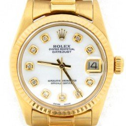 Mid Size Rolex 18K Yellow Gold Datejust President White MOP Diamond 6827 (SKU 682718KGWNMT)