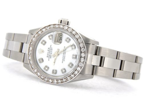 Rolex Stainless Steel Datejust 69174 White MOP Diamond-7