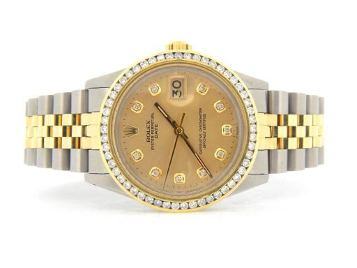 Rolex Two-Tone Date 1505 Champagne Diamond-8