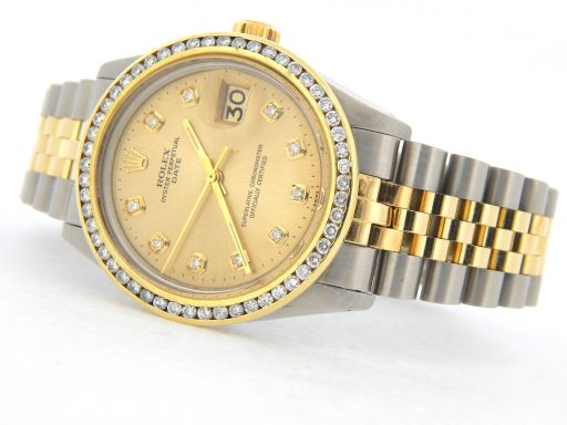 Rolex Two-Tone Date 1505 Champagne Diamond-7