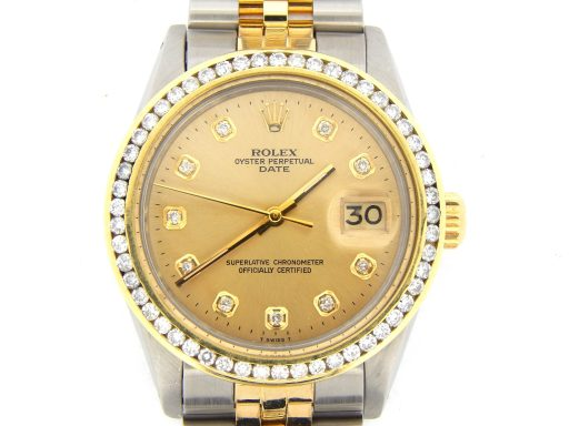Rolex Two-Tone Date 1505 Champagne Diamond-1