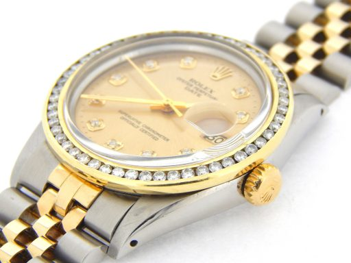 Rolex Two-Tone Date 1505 Champagne Diamond-5