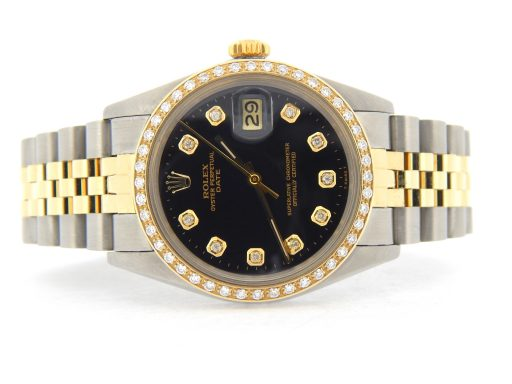 Rolex Two-Tone Date 1505 Black Diamond-8