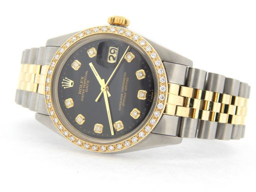 Rolex Two-Tone Date 1505 Black Diamond-9