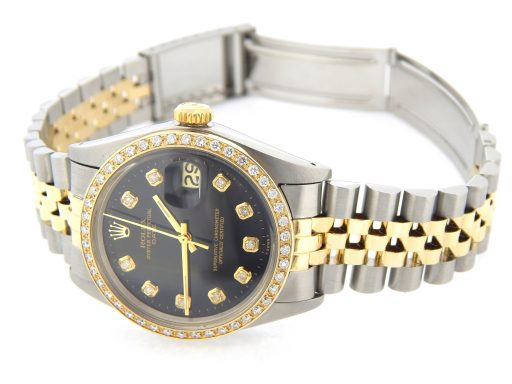 Rolex Two-Tone Date 1505 Black Diamond-5