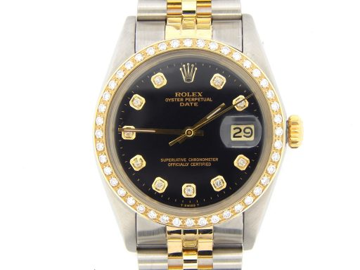 Rolex Two-Tone Date 1505 Black Diamond-1