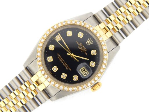 Rolex Two-Tone Date 1505 Black Diamond-6
