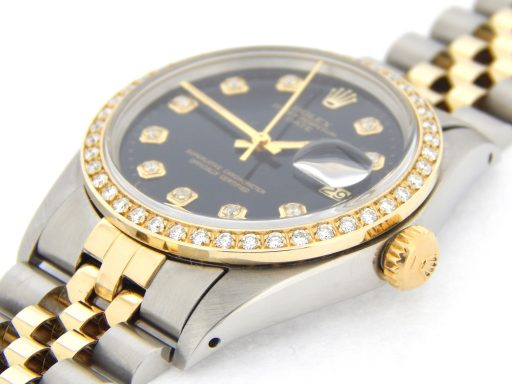 Rolex Two-Tone Date 1505 Black Diamond-7