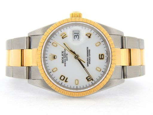 Rolex Two-Tone Date 15223 White Arabic-9