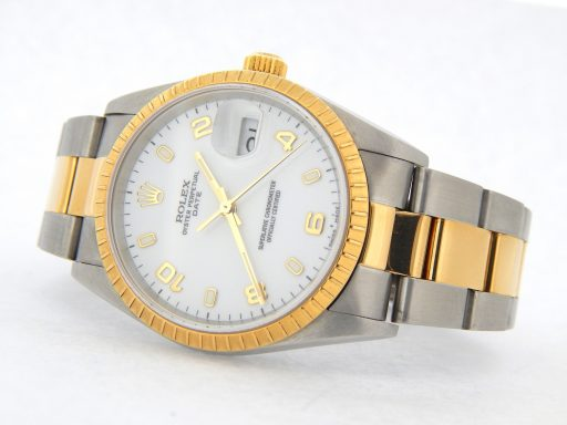 Rolex Two-Tone Date 15223 White Arabic-10
