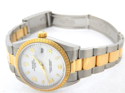 Rolex Two-Tone Date 15223 White Arabic-6