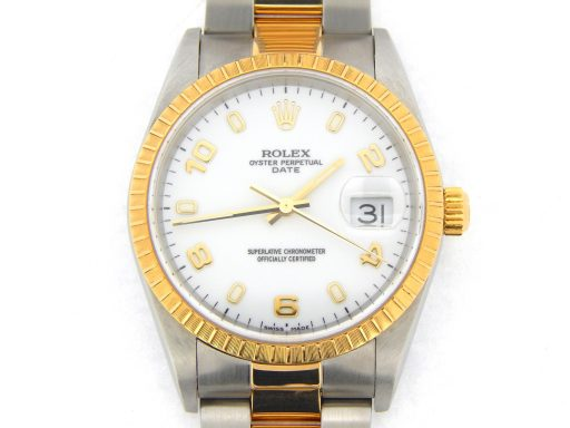 Rolex Two-Tone Date 15223 White Arabic-1
