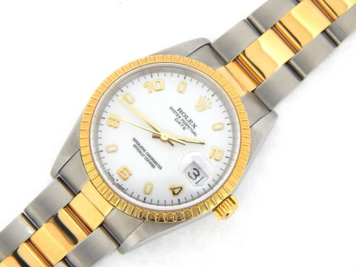 Rolex Two-Tone Date 15223 White Arabic-8