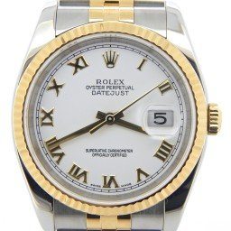 Mens Rolex Two-Tone 18K/SS Datejust White Roman 116233