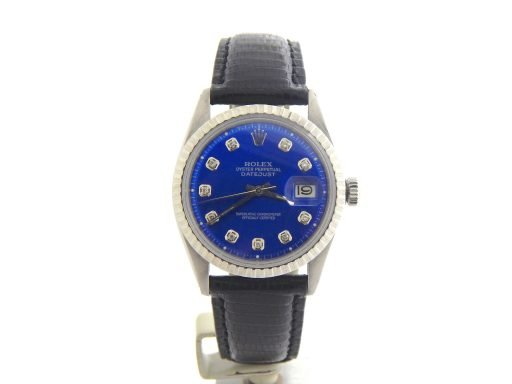 Rolex Stainless Steel Datejust 1603 Blue Diamond-8