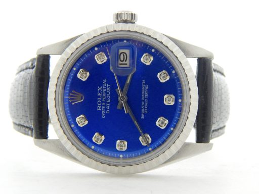 Rolex Stainless Steel Datejust 1603 Blue Diamond-7