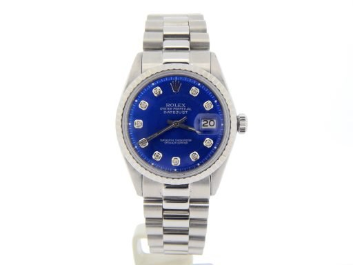 Rolex Stainless Steel Datejust 1603 Blue Diamond-9