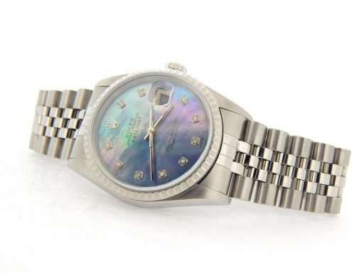 Rolex  Stainless Steel Datejust 16220 Tahitian MOP Diamond-6