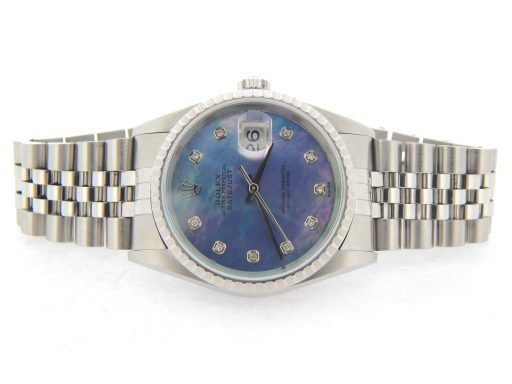 Rolex  Stainless Steel Datejust 16220 Tahitian MOP Diamond-5