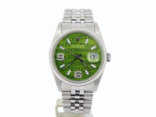 Rolex Stainless Steel Datejust 16200 Green Wave -6