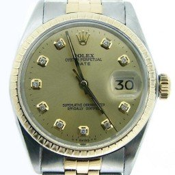Mens Rolex Two-Tone Date Champagne Diamond 1505 (SKU DA8625MT)