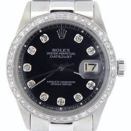 Mens Rolex Stainless Steel Datejust Black Diamond 1603 (SKU 2578378MT)