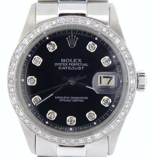 Rolex Stainless Steel Datejust 1603 Black Diamond-1