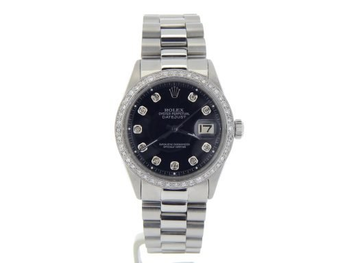 Rolex Stainless Steel Datejust 1603 Black Diamond-8