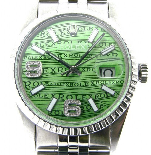 Rolex Stainless Steel Datejust 16030 Green Wave -1