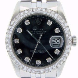 Mens Rolex Stainless Steel Datejust Black Diamond (SKU 8388472AMT)