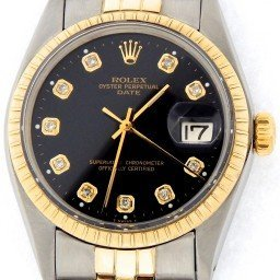Pre Owned Mens Rolex Two-Tone Date with a Black Diamond Dial 1505 (SKU 5408171M)