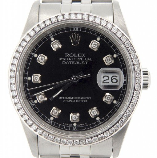 Rolex Stainless Steel Datejust 16220 Black Diamond-1