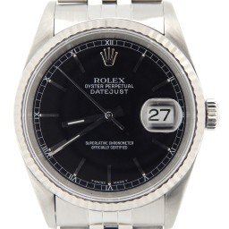 Mens Rolex Stainless Steel Datejust Black  16234