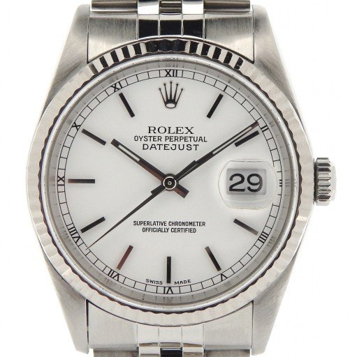 Rolex Stainless Steel Datejust 16234 White -1