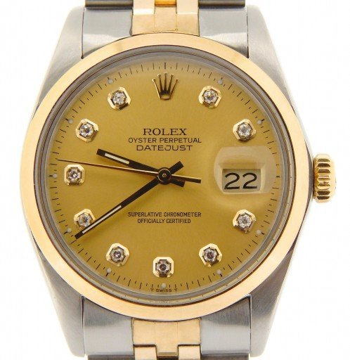 Rolex Two-Tone Datejust 16013 Champagne Diamond-1