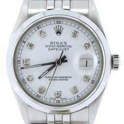 Mens Rolex Stainless Steel Datejust White Diamond 16030