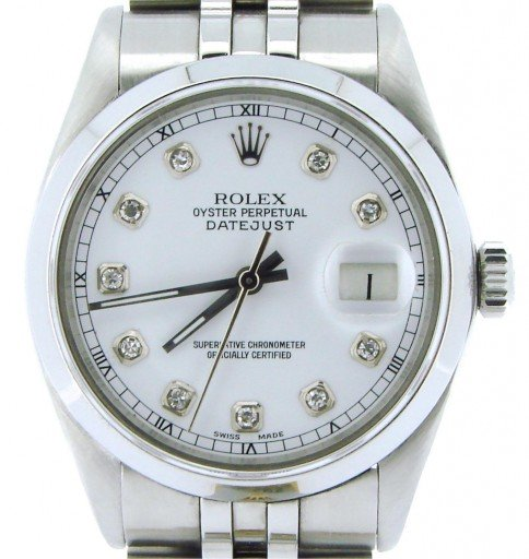 Rolex Stainless Steel Datejust 16030 White Diamond-1