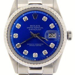 Mens Rolex Stainless Steel Datejust Blue Diamond 1603