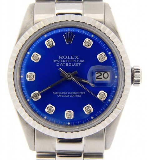 Rolex Stainless Steel Datejust 1603 Blue Diamond-1