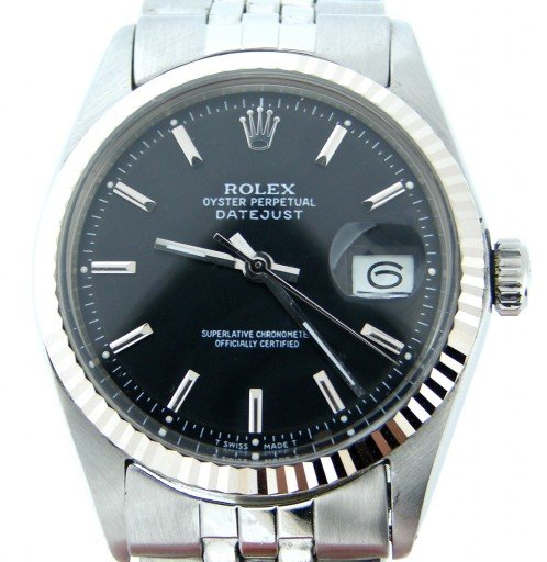 Rolex Stainless Steel Datejust 1601 Black -1