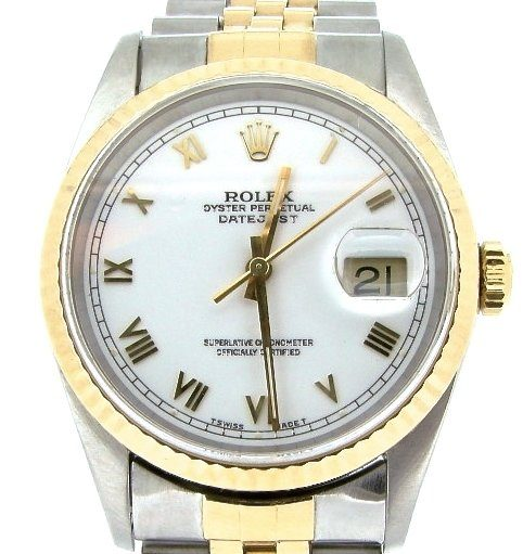 Rolex Two-Tone Datejust 16233 White Roman-1