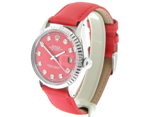 Rolex Stainless Steel Datejust 1603 Red Diamond-5