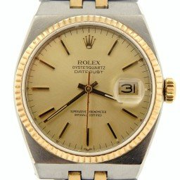 Pre Owned Mens Rolex Two-Tone Oysterquartz Datejust Gold Champagne 17013 (SKU 7558720N)