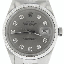Mens Rolex Stainless Steel Datejust Dark Silver Diamond Dial & Bezel 1603