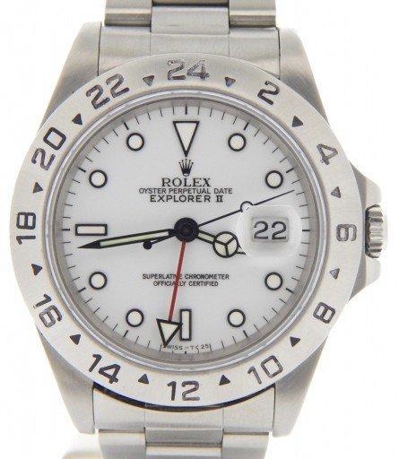 Rolex Stainless Steel Explorer II 16570 White -1